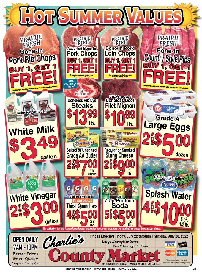 Weekly flyer charlie 39 s county market 521 s main st for Charlie s fish market